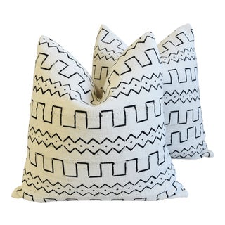 "Organic Neutral & Black Mali Tribal Mud Cloth Feather/Down Pillows 22"" Square - Pair For Sale"