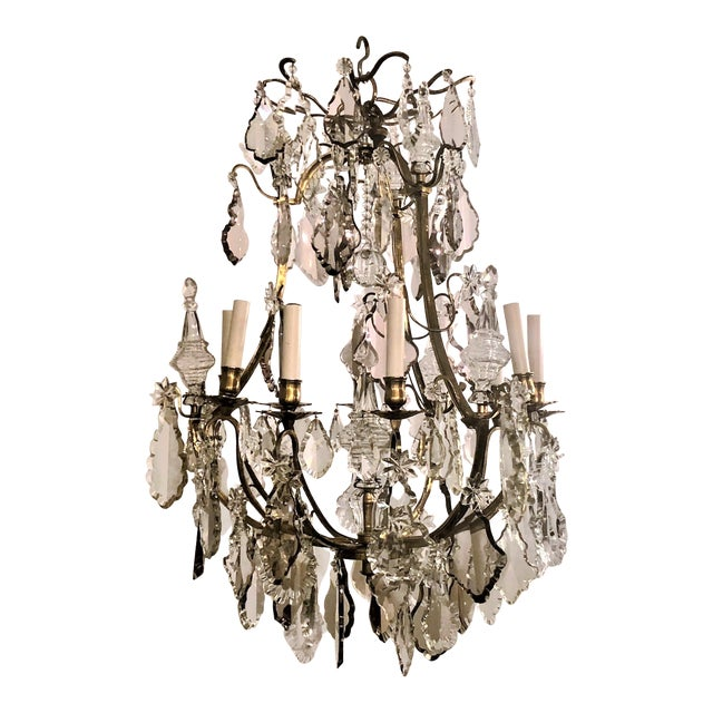 Antique French Baccarat Crystal Chandelier, Circa 1880. For Sale