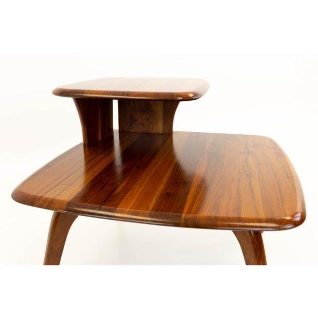 Walnut Mid CenturyModern Walnut Corner Side Table For Sale - Image 7 of 10