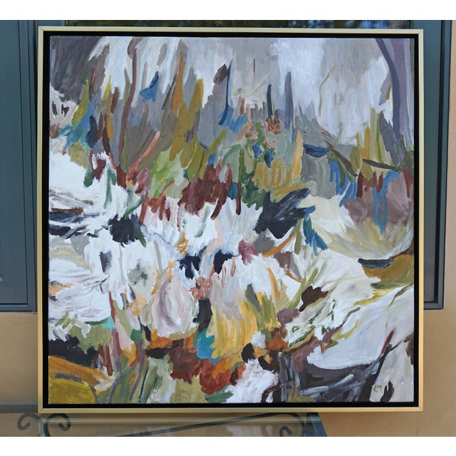 """Canvas """"Wild World"""" Abstract Landscape Painting by Laurie MacMillan, Framed For Sale - Image 7 of 7"""