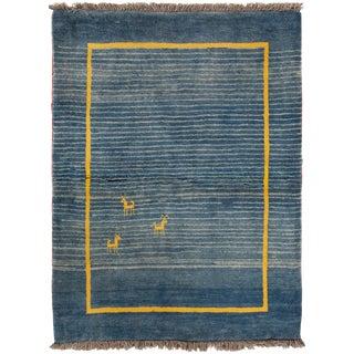 Vintage 1960's Nepalese Gabbeh Handmade Wool Rug- 3′ × 5′ For Sale