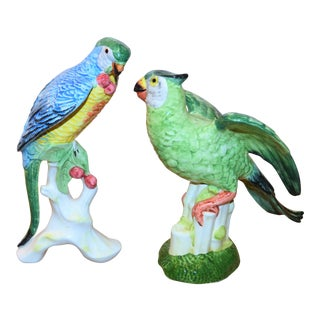 Chelsea House Italian Majolica Parrots Bird Figurines - a Pair For Sale