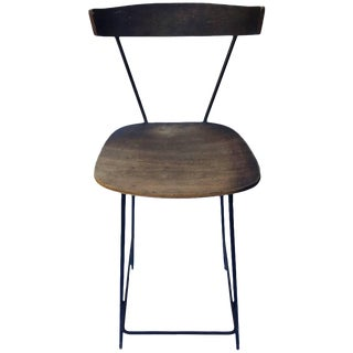 Paul McCobb Clifford Pascoe Style Iron and Wood Drafting Stool For Sale