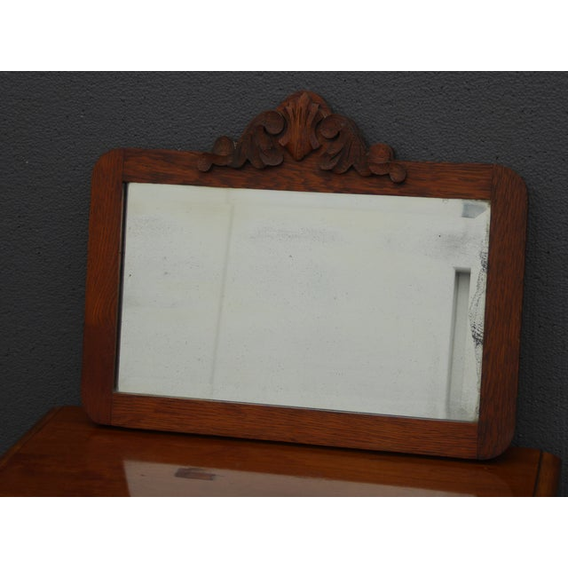Antique Mid-Century Modern Federal Rustic Beveled Edge W Aged Silver Wall Mirror For Sale - Image 4 of 13