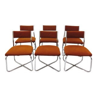 Vintage Mid-Century Modern Tubular Chrome Dining Chairs - Set of 6