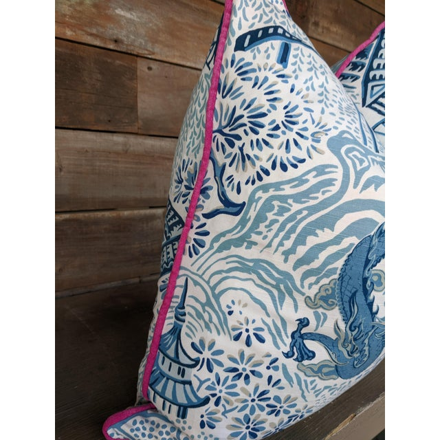 One decorative pillow featuring a dragon & pagoda design on home decor weight fabric. For a custom made look, the same...