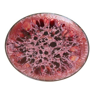 Mid-Century Modern Magenta and Pink Enamel on Copper Dish For Sale