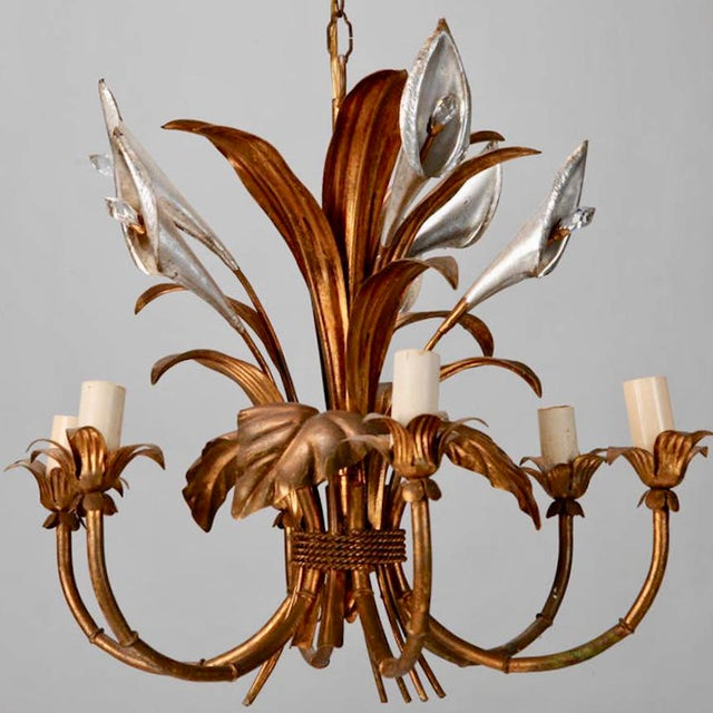 Hollywood Regency Italian Six Light Gilded Tole Chandelier With Calla Lilies and Crystals For Sale - Image 3 of 6