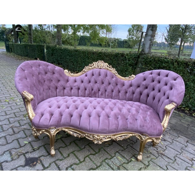 Wood New Purple French Louis XV Style Sofa. Made to Order For Sale - Image 7 of 8