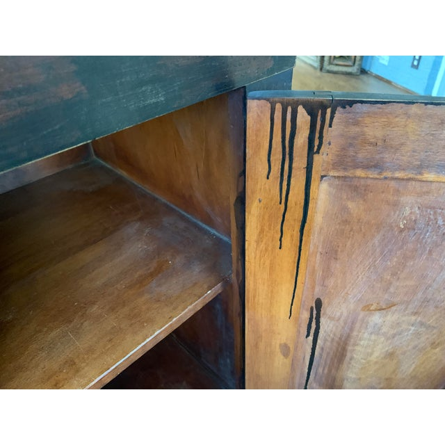 Antique Traditional Black Wood Buffet For Sale - Image 4 of 12