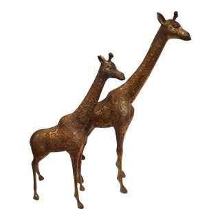 1960s Vintage Brass Giraffe Statues- A Pair For Sale