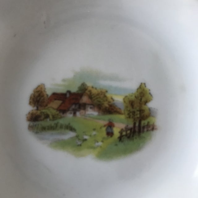 Very old small ashtray. This petite piece can also be used as a little catch-all dish for rings or coins. Sweet farm scene...