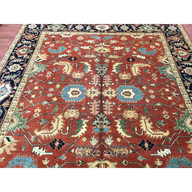 Indo-Persian Heriz Rug - 8′2″ × 9′10″ For Sale In Pittsburgh - Image 6 of 7