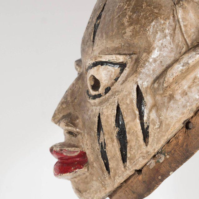 Painted Head Crest Mask on Mount, Probably Yoruba, Nigeria, 20th Century For Sale - Image 4 of 10