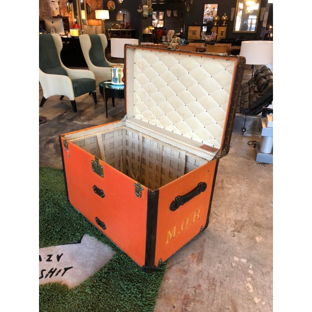Louis Vuitton Rare Louis Vuitton Orange Trunk With Initials m.o.r, Circa 1930s For Sale - Image 4 of 13