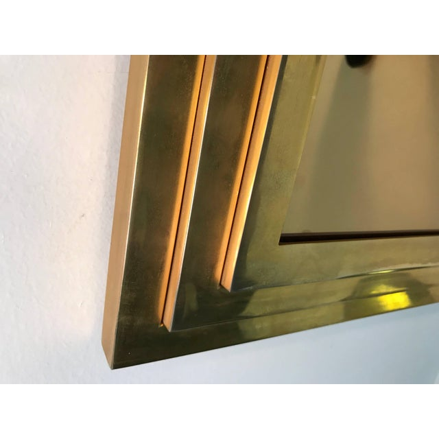 Metal Modern Square Gold Tone Framed Metal Mirror For Sale - Image 7 of 10