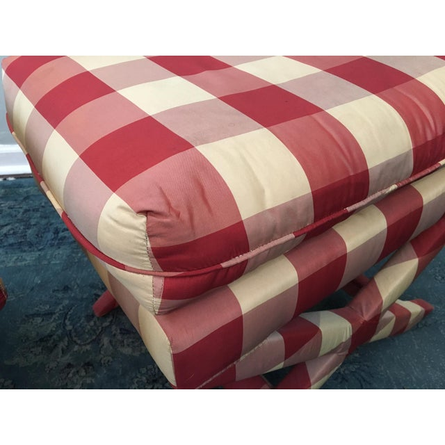 Hollywood Regency Upholstered X Benches - A Pair - Image 4 of 6