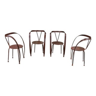 Wrought Iron Rustic Custom Made set of 4 Armchairs