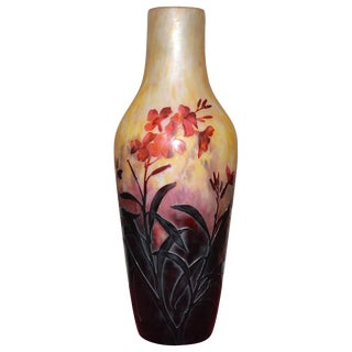 Large Vase by Daum, Pâte De Verre For Sale