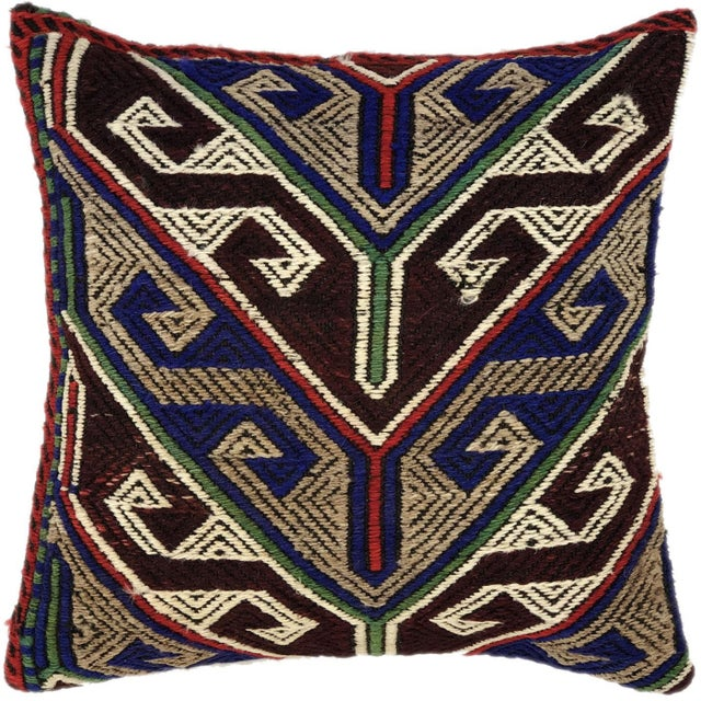 "Mid-Century Modern Bold Boho Kilim Pillow | 16"" For Sale - Image 3 of 3"