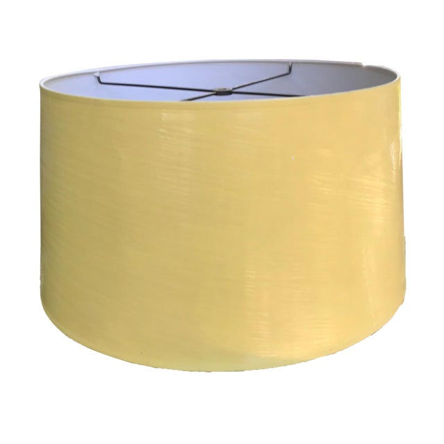 Vintage Yellow High Gloss Drum Shade For Sale