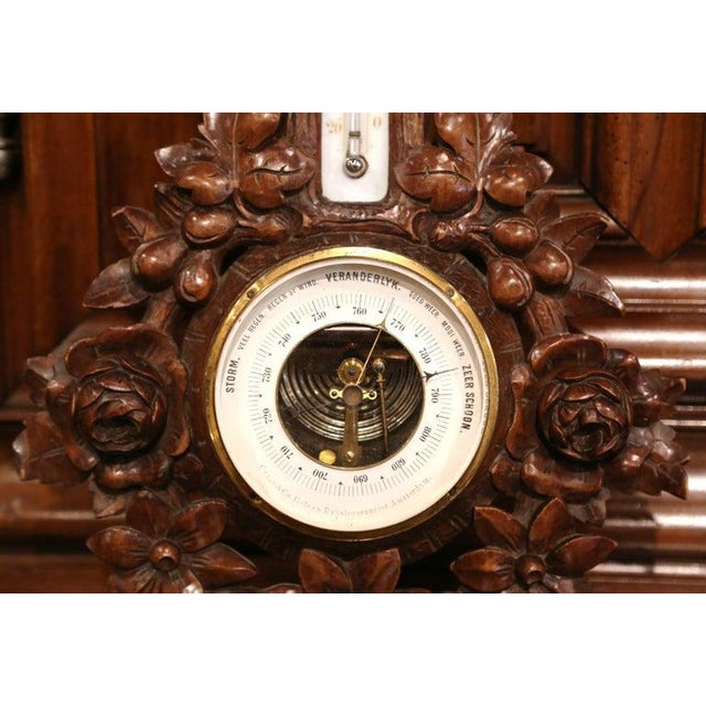 19th Century French Black Forest Carved Walnut Barometer For Sale - Image 4 of 9