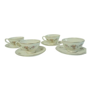 Mid 20th Century Homer Laughlin Georgian Style Cups & Saucers - Set of 4 For Sale