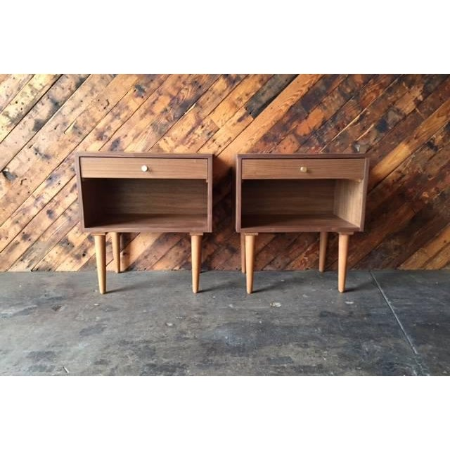 Set of 2, newly hand made, walnut wood, brass handle pulls, single drawer. mid century style Dimensions: 22.5ʺW × 15.0ʺD ×...