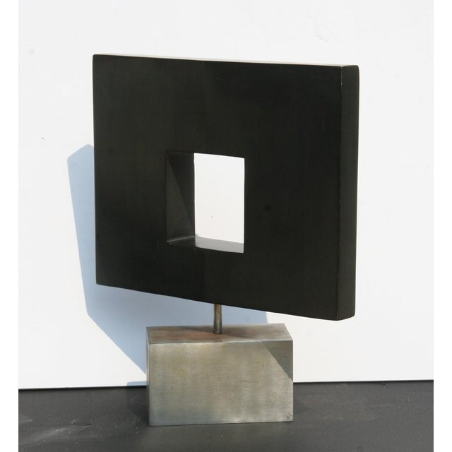 Artist: Dan Content Title: Abstract Square Year: circa 1970 Medium: African Wonder Stone Sculpture on base Size: 15 x 13 x...