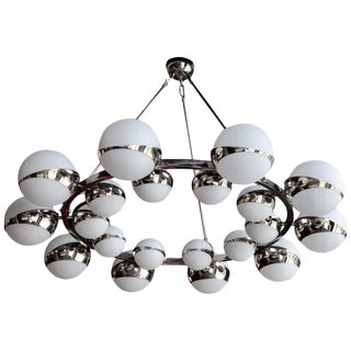 One of Two Very Huge Stilnovo Style Murano Glass and Chrome Chandelier For Sale