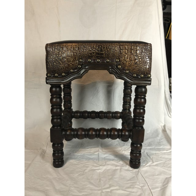 Mediterranean Rustic Ranch Bar Stool With Brown Leather & Crocodile Embossed For Sale - Image 3 of 8