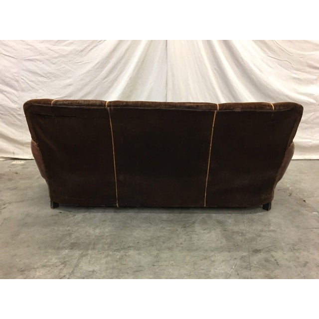 1930's French Art Deco Leather & Mohair Club Sofa For Sale In Austin - Image 6 of 10