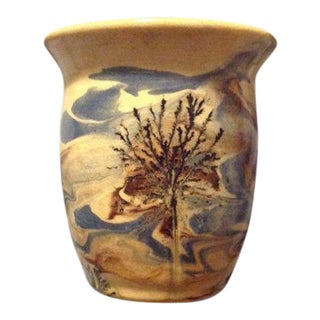 Sevierville Pottery Tennessee Art Pottery Vase Tree and Sky Motif For Sale