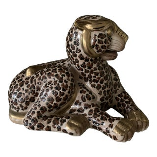 Garcia Imports Sitting Leopard Figurine For Sale
