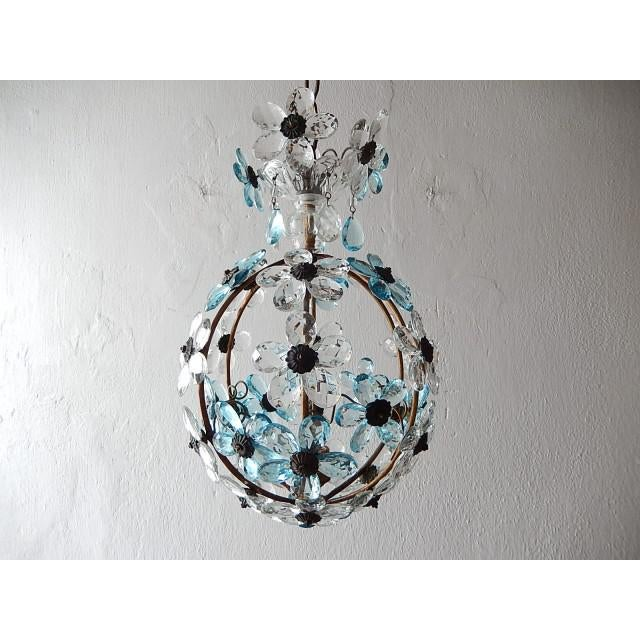 French Aqua Blue Flower Ball Crystal Prisms Maison Baguès Style Chandelier For Sale - Image 11 of 11