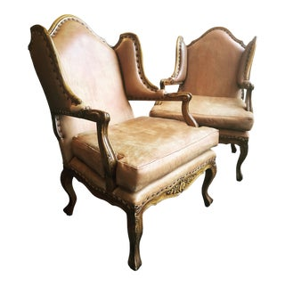Antique Leather Lounge Chairs - a Pair For Sale