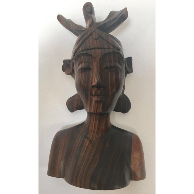 Ebony Balinese Hand Carved Wooden Busts Bookends - a Pair For Sale - Image 8 of 11