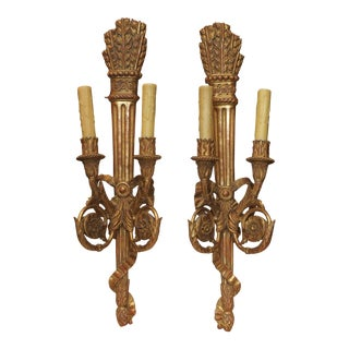 18th Century French Giltwood Sconces- a Pair For Sale