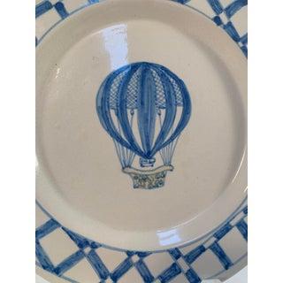 Ethan Allen Blue Hand Drawn Hot Air Balloon Made in Portugal Plates - a Pair Preview