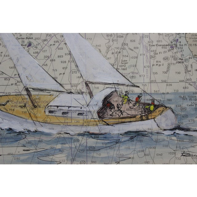 Nautical Catalina Island Sailboat Gouache by Renner For Sale - Image 3 of 6