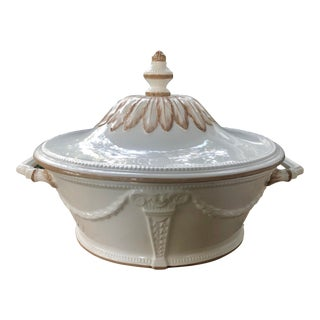 Vintage Italian Rococo Style Porcelain Soup Tureen For Sale
