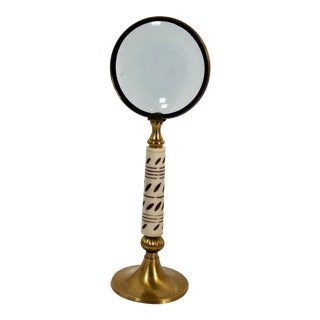 Mid 20th Century Distinctive Magnifying Glass Tabletop Brass Vintage Bone Etched Stand / Handle For Sale