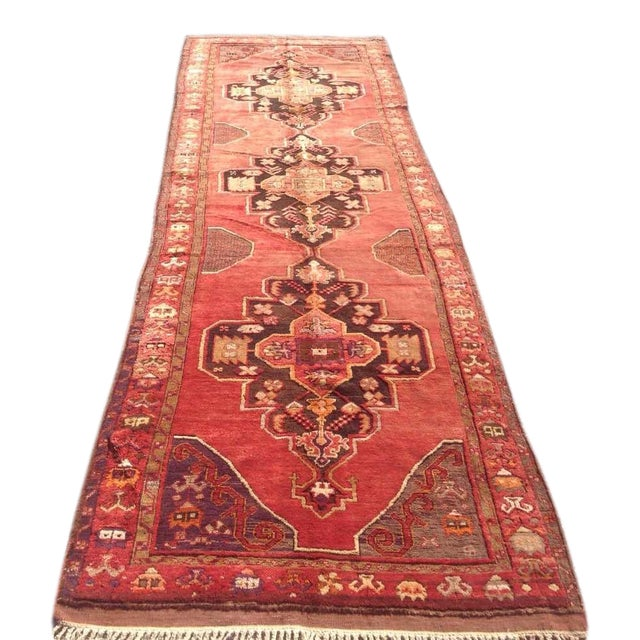 """1940s Vintage Hand Knotted Anatolian Rug - 4'2"""" x 13'5"""" - Image 1 of 8"""