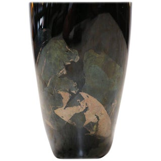 Organic Black Glass Vase with Iridescent Overlay For Sale