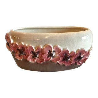 "Cottage Royal Copley ""Dogwood"" Oval Ceramic Planter For Sale"