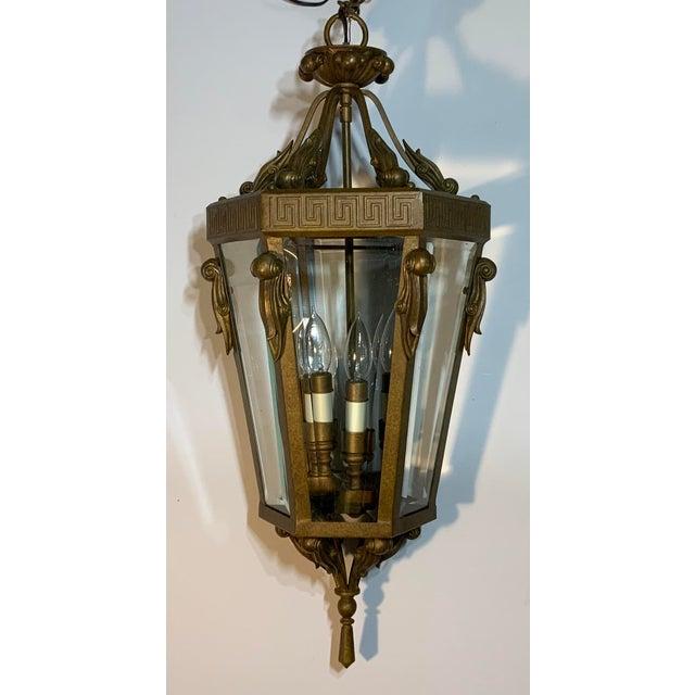 Vintage Six Sided Indoor Hanging Lantern Chandelier For Sale - Image 13 of 13