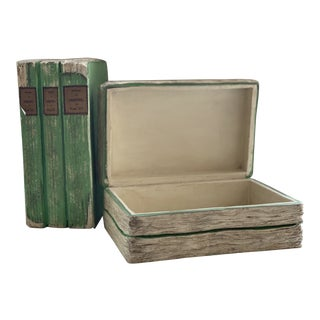 Vintage Mid Century Faux Book Secret Storage Boxes - a Pair For Sale