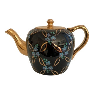 Vintage English Black and Gold Tea Pot For Sale