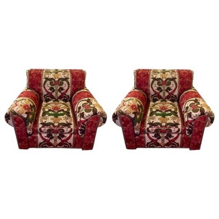 Traditional George Smith Red Upholstered Arm Chairs - a Pair For Sale