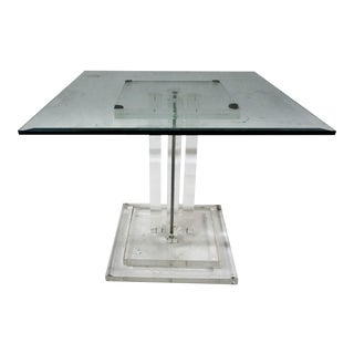Lucite & Glass Side Table For Sale